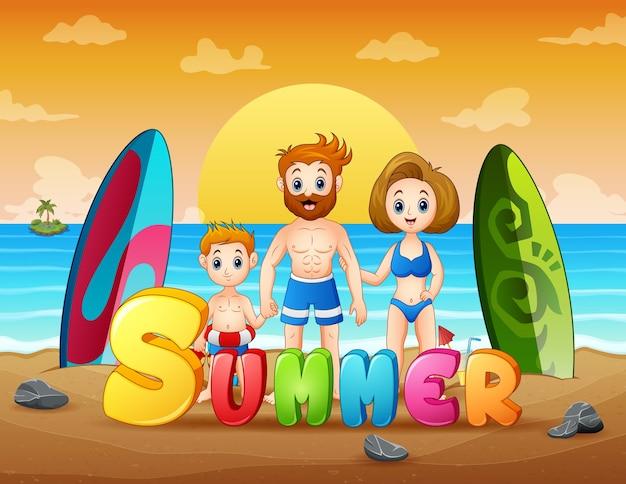 Glückliche familie auf sommerferienillustration
