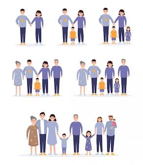 Glückliche familie beginnt mit einem paar, verheiratet, hat kinder.