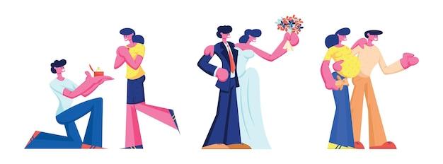 Glückliche familie beziehungsentwicklung set. verlobungs-hochzeits-schwangerschafts-liebespaar-zeitleiste von der verabredung bis zur heirat und dem warten auf das baby. liebe beziehung cartoon flache vektor-illustration, clipart