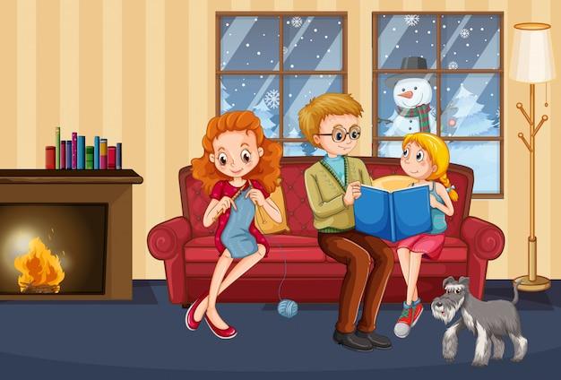 Glückliche familie bleiben im winter zu hause