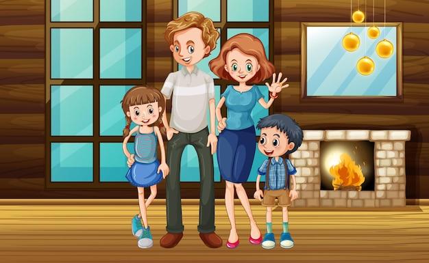 Glückliche familie bleibt zu hause