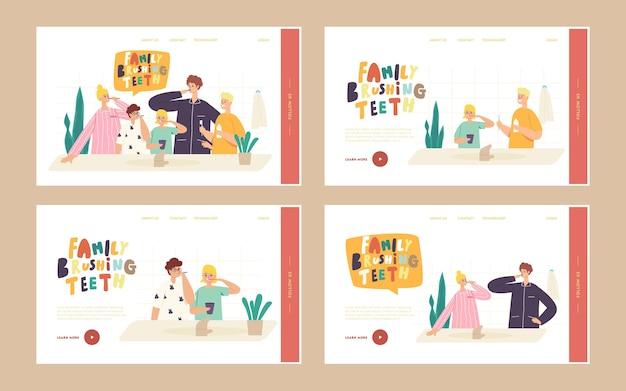 Glückliche familie charaktere bürstenzähne landing page template-set. eltern und kinder zahnpflege im badezimmer. mutter, vater und kinder mit zahnbürste und paste. cartoon-menschen-vektor-illustration