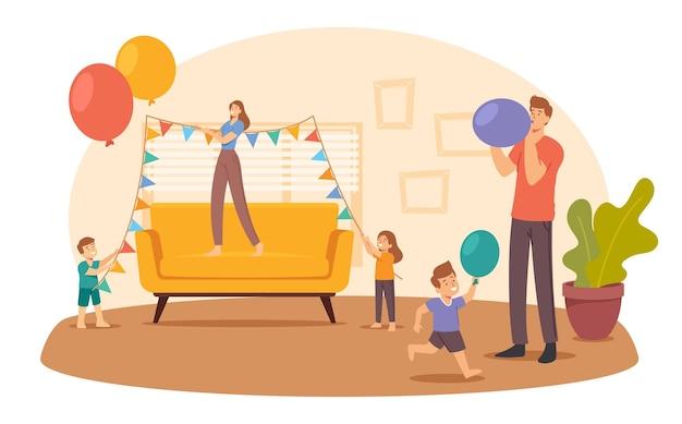 Glückliche familie dekorieren wohnzimmer hängende girlanden und blasen ballons für geburtstags- oder feiertagsfeier. eltern und kinderfiguren bereiten sich auf das jubiläum vor. cartoon-menschen-vektor-illustration