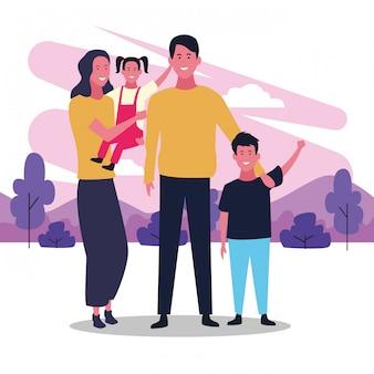Glückliche familie der karikatur, buntes design