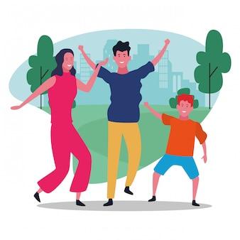 Glückliche familie der karikatur im parkdesign