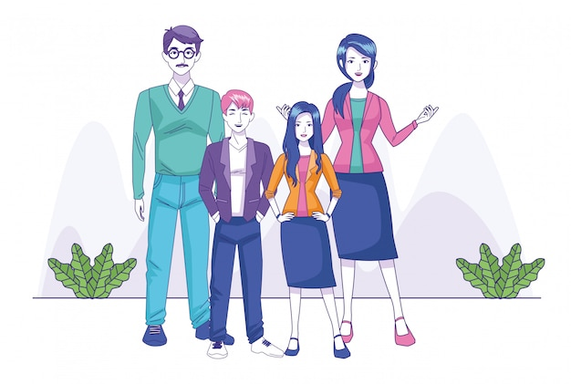 Glückliche familie der karikatur mit jugendlichmädchen- und -jungenstellung