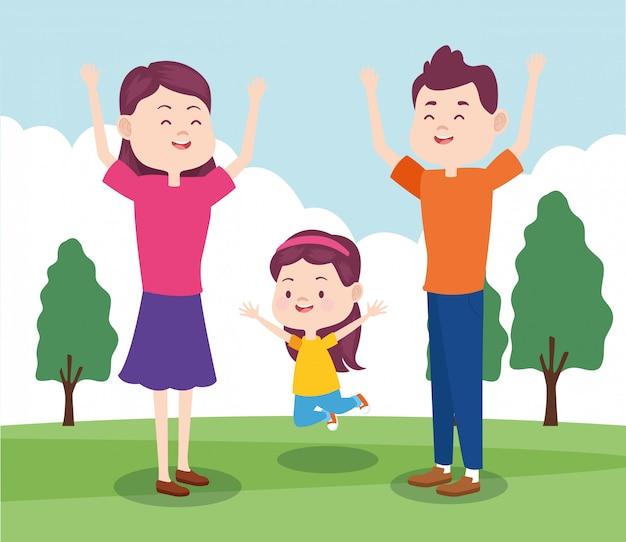 Glückliche familie der karikatur mit kleinem mädchen im park