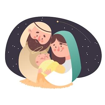 Glückliche familie der krippe mit sternenklarer nacht