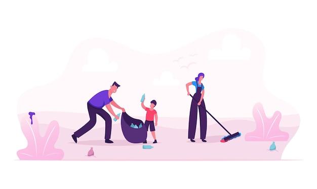 Glückliche familie, die abfall am strand oder im stadtpark während der reinigung aufnimmt. karikatur flache illustration