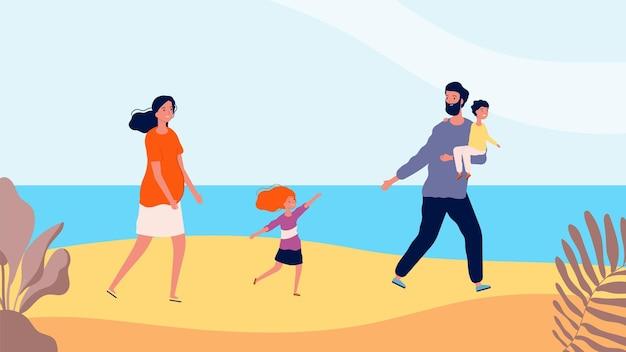 Glückliche familie, die am strand spazieren geht. reisezeit, mutter, vater, tochter und sohn. sommerzeit, meer oder ozean entspannende vektorgrafik. familienspaziergang, glückliche menschen mit kindern