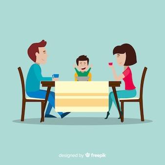 Glückliche familie, die am tisch, charakterdesign sitzt