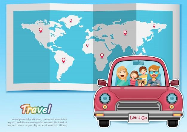 Glückliche familie, die auf der ganzen welt auf rotes auto reist