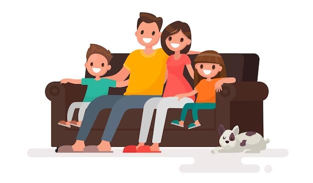 Glückliche familie, die auf der sofaillustration sitzt