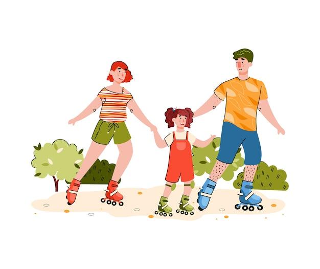 Glückliche familie, die auf rollschuhen reitet - leute, die mit kind rollschuh laufen