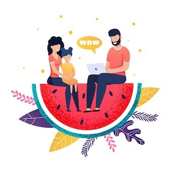 Glückliche familie, die auf wassermelonen-scheiben-metapher-karikatur sitzt