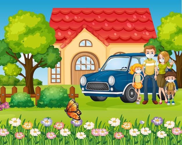 Glückliche familie, die außerhalb des hauses mit einem auto steht