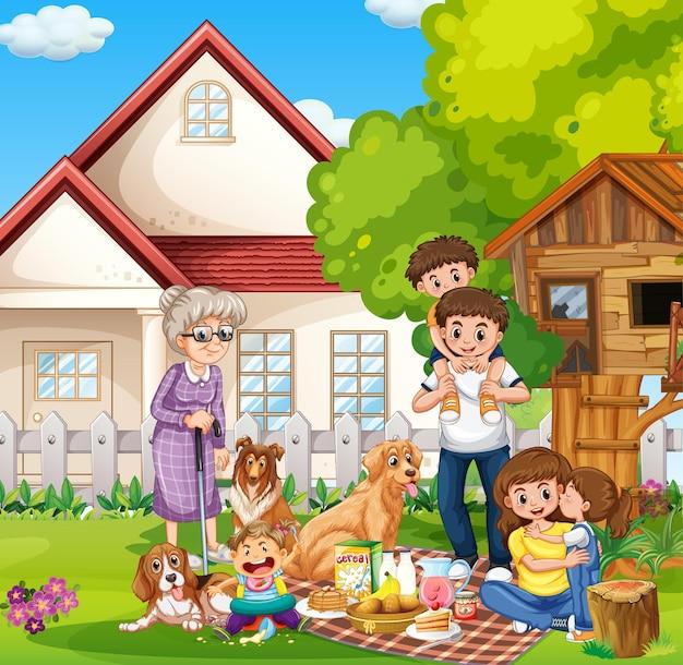 Glückliche familie, die außerhalb des hauses mit ihren haustieren steht