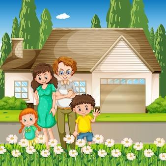Glückliche familie, die außerhalb des hauses steht