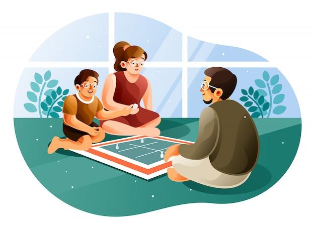 Glückliche familie, die brettspiele in einem wohnzimmer spielt, wenn sie zu hause bleiben
