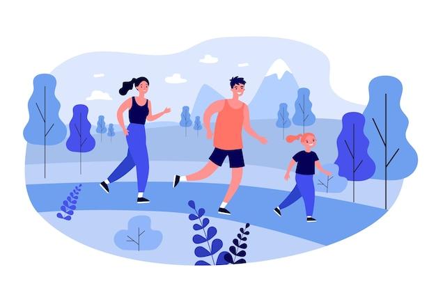 Glückliche familie, die draußen joggt.