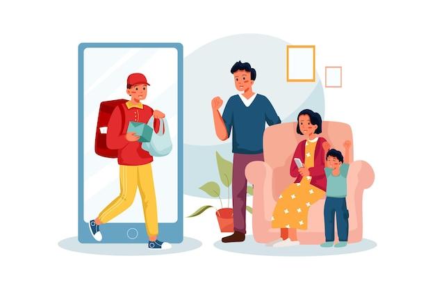 Glückliche familie, die ein fertiges essen zu hause unter verwendung einer smartphone-app erhält