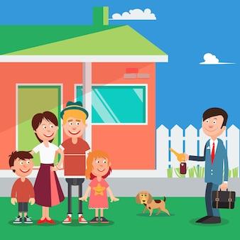 Glückliche familie, die ein neues haus kauft. immobilienmakler mit schlüsseln vom haus. vektor-illustration