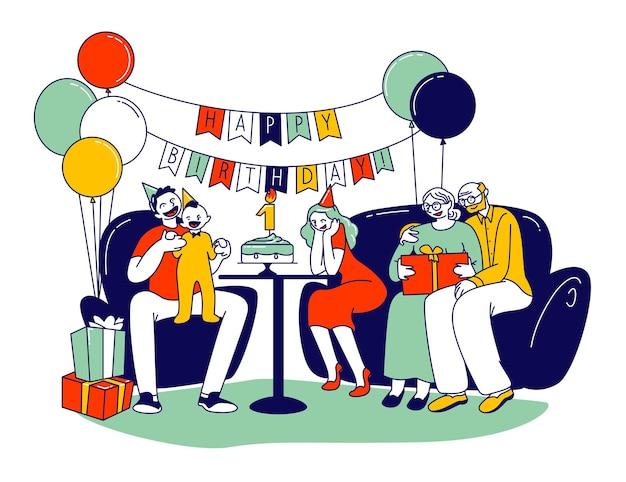 Glückliche familie, die ersten babygeburtstag feiert. karikatur flache illustration