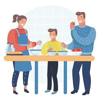 Glückliche familie, die essen in der küche zusammen kocht, geschirr, geschirr, haus, haus, raum