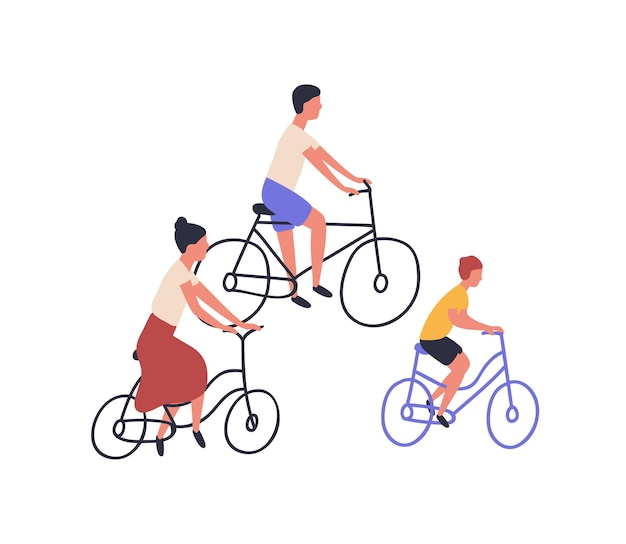Glückliche familie, die fahrrad fährt. mama, papa und kind auf fahrrädern isoliert auf weißem hintergrund. eltern und sohn radeln zusammen. sport- und freizeitaktivitäten im freien. flache cartoon-vektor-illustration.