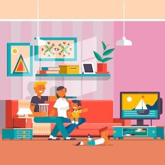 Glückliche familie, die flache illustration des fernsehvektors aufpasst