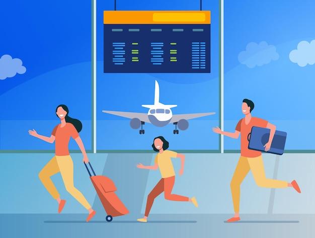 Glückliche familie, die für flugregistrierung läuft. tourist, gepäck, flache abbildung des flugzeugs