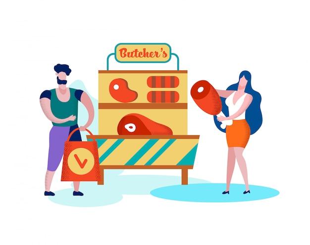 Glückliche familie, die gesunden metzger meat im shop kauft