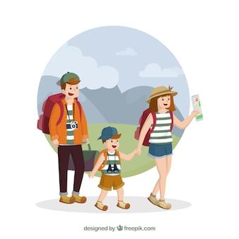 Glückliche familie, die in der hand gezeichnete art reist