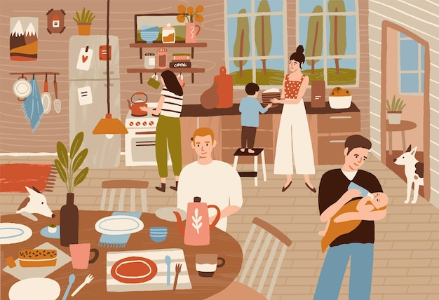 Glückliche familie, die in der küche kocht und esstisch serviert. lächelnde erwachsene und kinder bereiten gemeinsam mahlzeiten für das abendessen zu