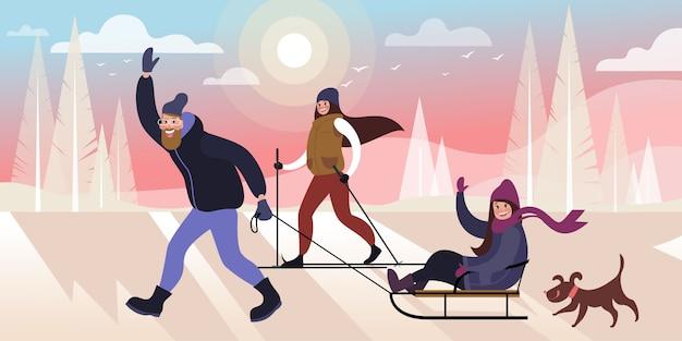 Glückliche familie, die in einem winterstadtpark mit einem hund ski fährt und rodelt. flache vektor-illustration.