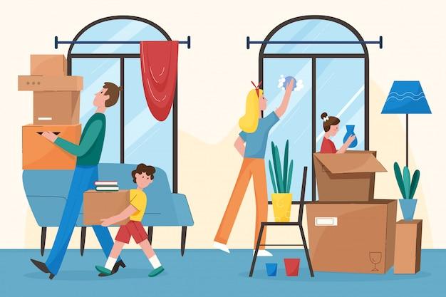 Glückliche familie, die in neue wohnung flaches charaktervektorillustrationskonzept bewegt