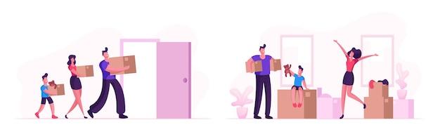 Glückliche familie, die in neues haus einzieht. mutter, vater und kleiner sohn tragen kisten und dinge nach hause. menschen, die immobilien-wohnungen zum leben kaufen, umzugsprozess-karikatur-flache vektor-illustration