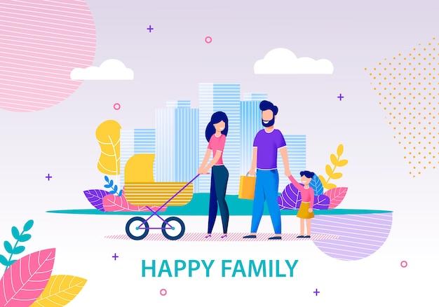 Glückliche familie, die in stadt-flache fahnen-schablone geht