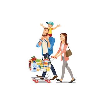 Glückliche familie, die lebensmittel im supermarkt-vektor kauft