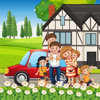 Glückliche familie, die mit einem auto außerhalb des hauses steht?