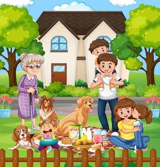 Glückliche familie, die mit ihren haustieren vor dem haus steht
