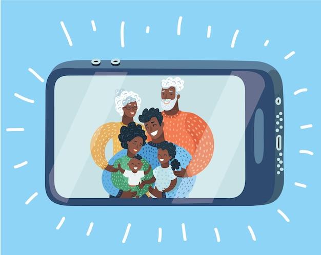 Glückliche familie, die selbstporträt mit smartphone macht Premium Vektoren