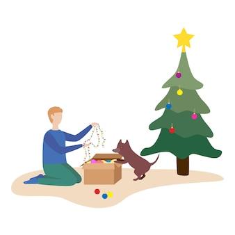 Glückliche familie, die sich darauf vorbereitet, das neue jahr zu feiern. paar verkleidet weihnachtsbaum. flache vektorillustration