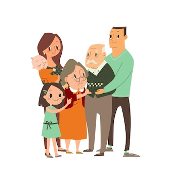 Glückliche familie, die sich umarmt. mehrere generationen, großeltern, eltern mit kindern, enkelkinder. zeichentrickfigur illustration.