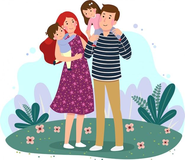 Glückliche familie, die spaß zusammen im park hat. eltern mit zwei kindern.