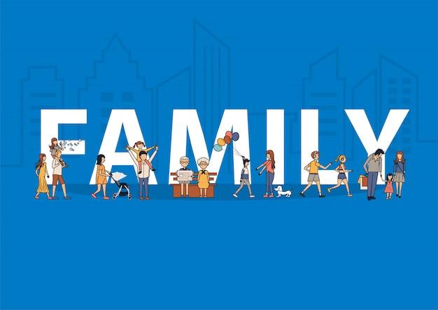 Glückliche familie, die spaßlebensstil-ideenkonzept mit flachen großen buchstaben hat