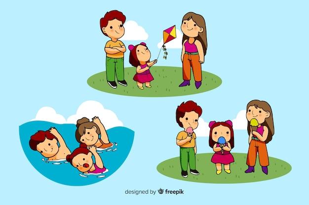 Glückliche familie, die tätigkeiten im freien tut. charakter-design
