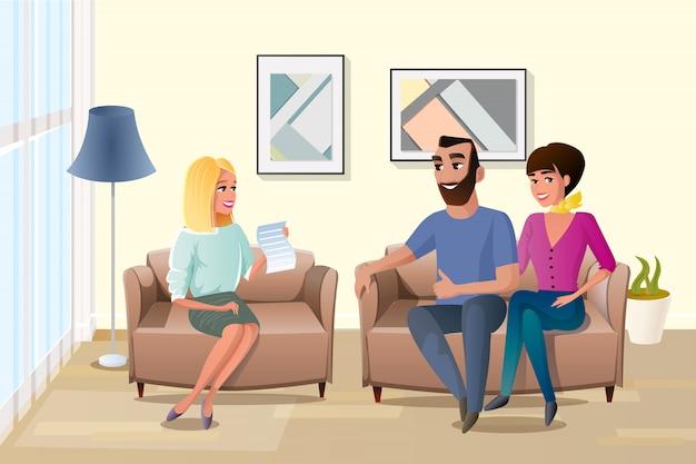 Glückliche familie, die vertragsbedingungen-vektor akzeptiert