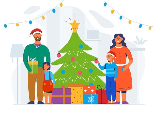 Glückliche familie, die weihnachtsbaum verziert. winterferien charaktere zu hause mit geschenken. eltern und kinder feiern gemeinsam neujahr.
