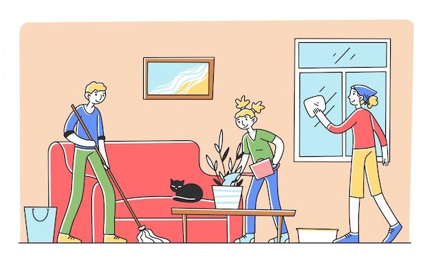 Glückliche familie, die wohnung zusammen putzt